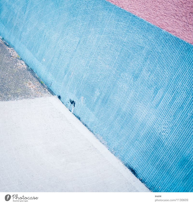 Against the wall ... Lifestyle Style Design Art Wall (barrier) Wall (building) Facade Line Stripe Sharp-edged Simple Modern Blue Pink White Creativity