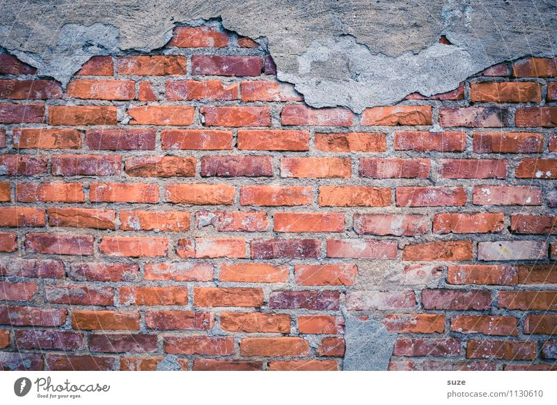 Open for new Wall (barrier) Wall (building) Facade Old Authentic Dirty Broken Naked Gray Red Decline Past Transience Background picture Brick Brick wall