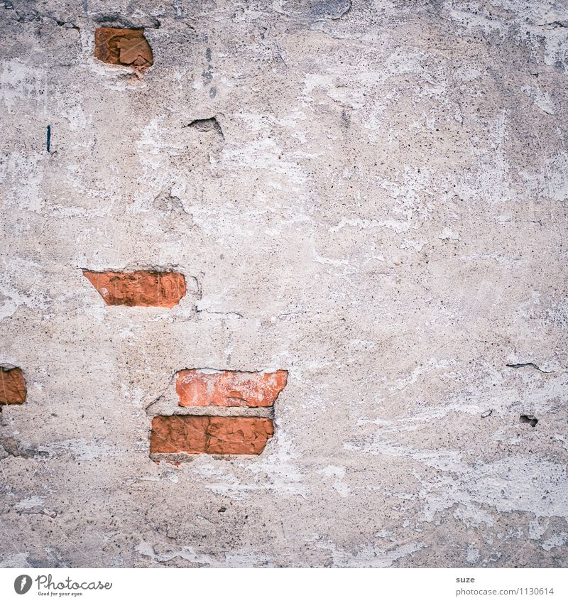 Clinker indicators Art Work of art House (Residential Structure) Wall (barrier) Wall (building) Facade Old Authentic Dirty Broken Gray Red Decline Past
