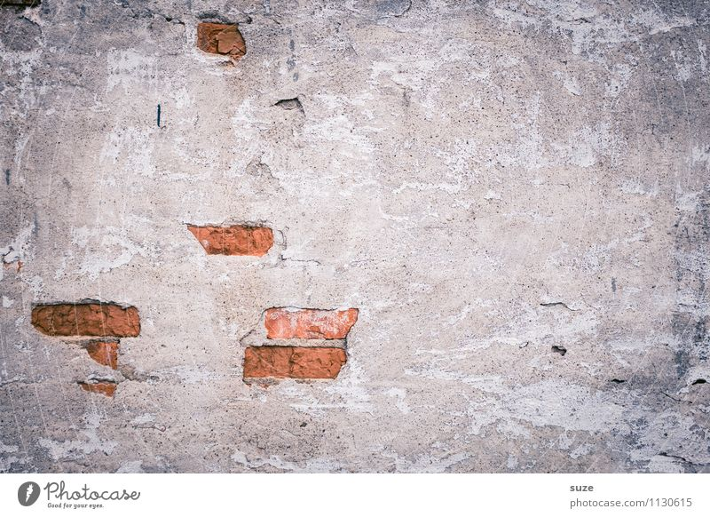 Old Red Wall (building) Background picture Wall (barrier) Gray Art Facade Dirty Authentic Concrete Simple Transience Broken Change Past