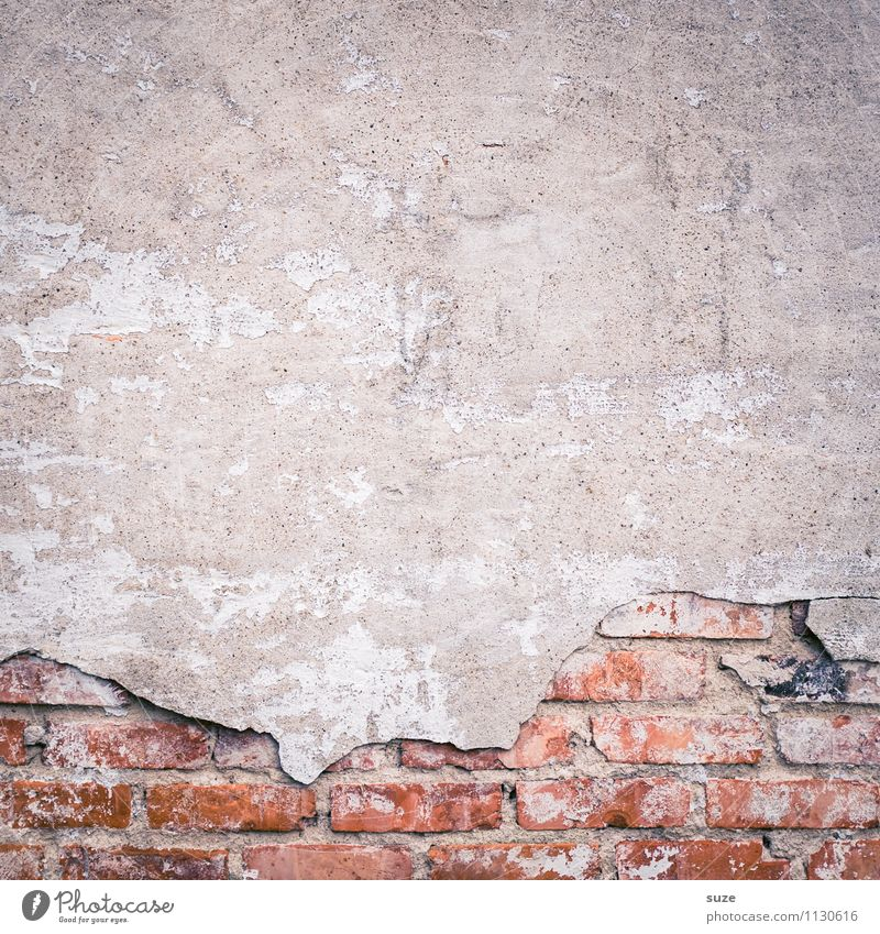 mania for cleaning Art Work of art Wall (barrier) Wall (building) Facade Old Authentic Dirty Broken Gray Red Decline Past Transience Background picture Brick