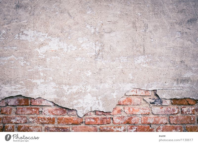 Old Red Wall (building) Background picture Wall (barrier) Gray Facade Dirty Gloomy Authentic Simple Concrete Transience Broken Change Past