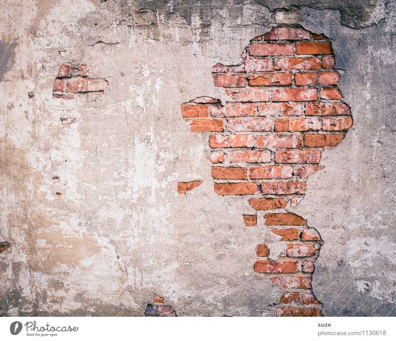 Man Old Red Wall (building) Wall (barrier) Background picture Exceptional Art Head Masculine Gloomy Concrete Transience Broken Illustration Past