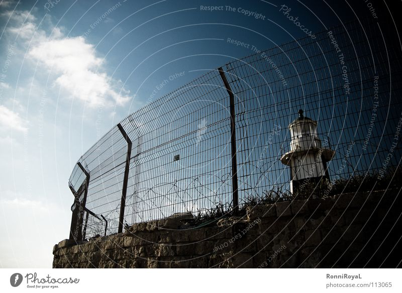 Sky Sun Far-off places Freedom Harbour Fence Lighthouse Captured South Israel Cramped