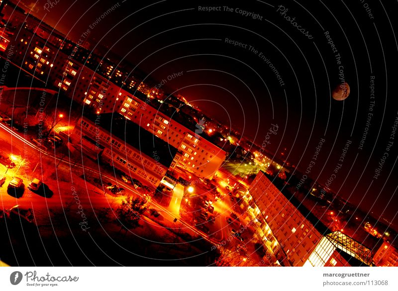 City Red Calm Dark Warmth Small Bright Orange Contentment Transport High-rise Crazy Perspective Tilt Physics Moon