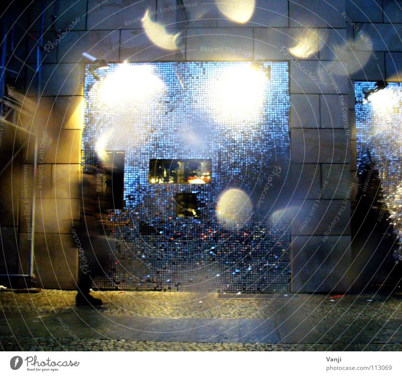sequins In transit Cold Rain Wet Building House (Residential Structure) Dark Evening Sequin Downtown Berlin Light Decoration Glittering Drops of water Street