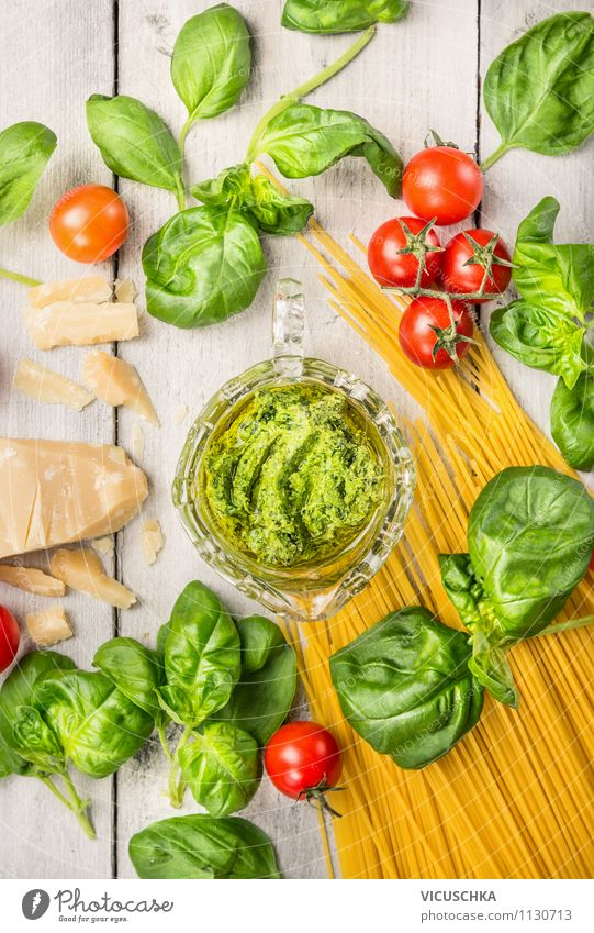 Spaghetti with basil pesto and tomatoes, ingredients Food Vegetable Dough Baked goods Herbs and spices Cooking oil Nutrition Lunch Buffet Brunch Organic produce