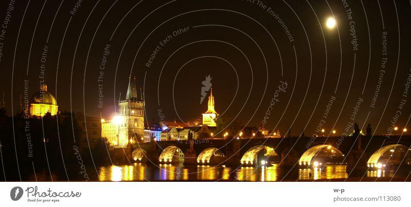 Water Beautiful Black Dark Freedom Lighting Orange Bridge Tourism Mirror Moon Navigation Panorama (Format) Visual spectacle Arch