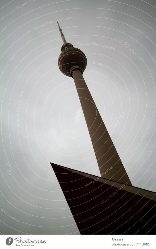 top left Alexanderplatz Concrete Rain Clouds Cloud cover Gray Bad weather Landmark Antenna Left Monument Berlin TV Tower Cover Point Above Architecture