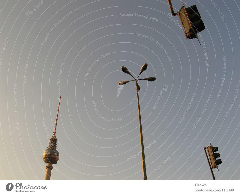 Light signal system controlled pedestrian crossing possibility Alexanderplatz Concrete Lantern Lamp Traffic light Landmark Antenna Monument Berlin TV Tower Sky