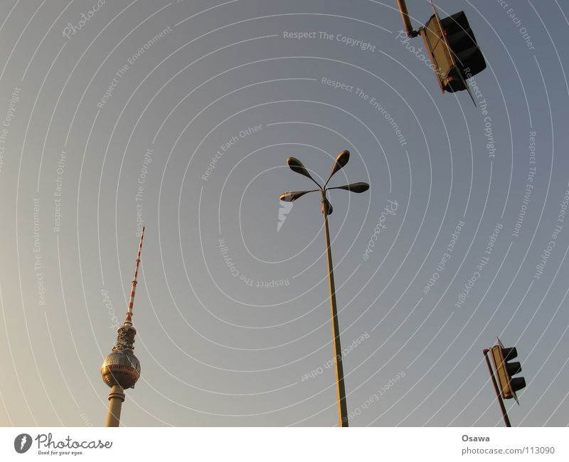 Sky Blue Lamp Berlin Concrete Tower Lantern Monument Landmark Electricity pylon Traffic light Antenna Berlin TV Tower Alexanderplatz