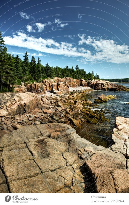 Coastline in Acadia National Park, Maine Sky Vacation & Travel Blue Green Water Summer Ocean Landscape Clouds Coast Rock Park Weather Tourism Adventure USA