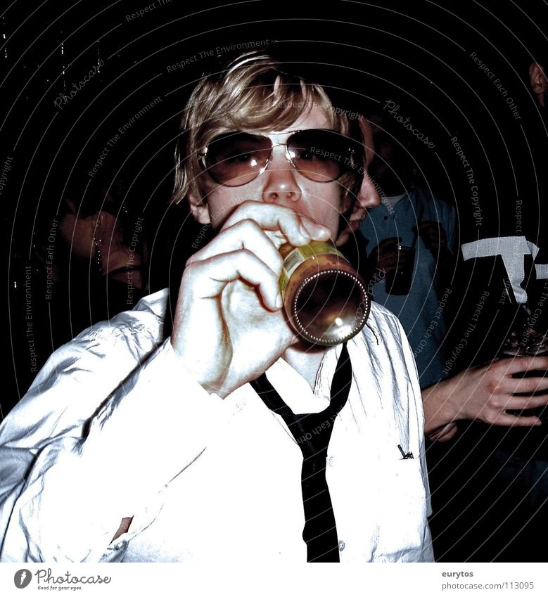 this is Lars... Disco Shirt Tie Eyeglasses Aviator goggles Happiness Exuberance Party Porno glasses Drinking Easygoing Blonde Hair and hairstyles Man Bottle