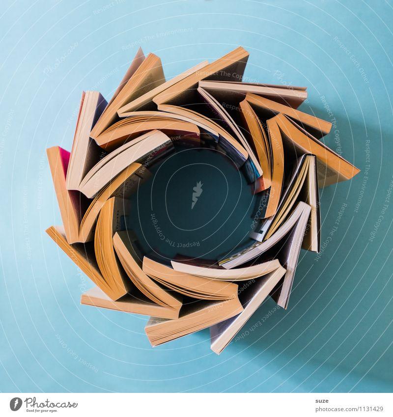Blue Style Time School Lifestyle Design Circle Beginning Creativity Book Simple Idea Study Academic studies Culture Sign
