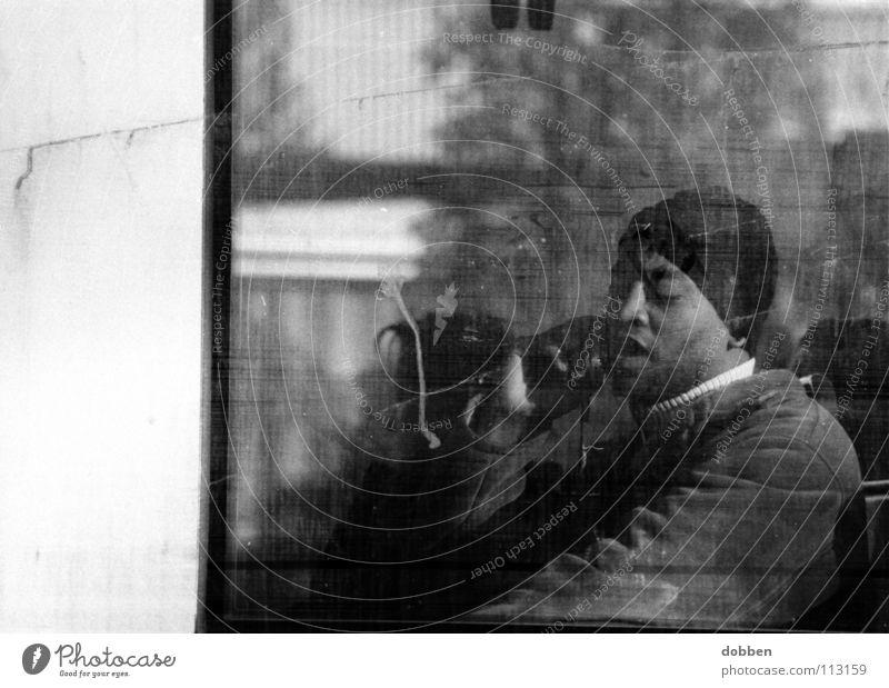 the second face... Man Cellphone Telephone Cap Window Dirty Sunglasses Cologne municipal transport system Black & white photo Communicate Railroad train driver