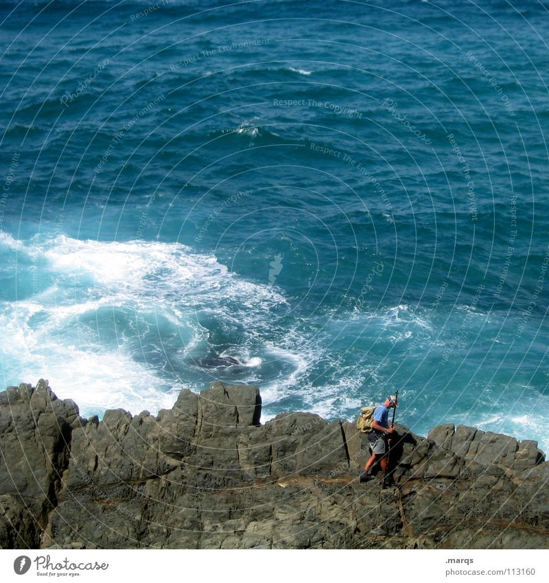 fisherman Ocean Wet Cliff Corner Stone Gentleman Man Angler Fishing (Angle) Fisherman Going Search Hiking Summer Leisure and hobbies Passion Waves Surf Current