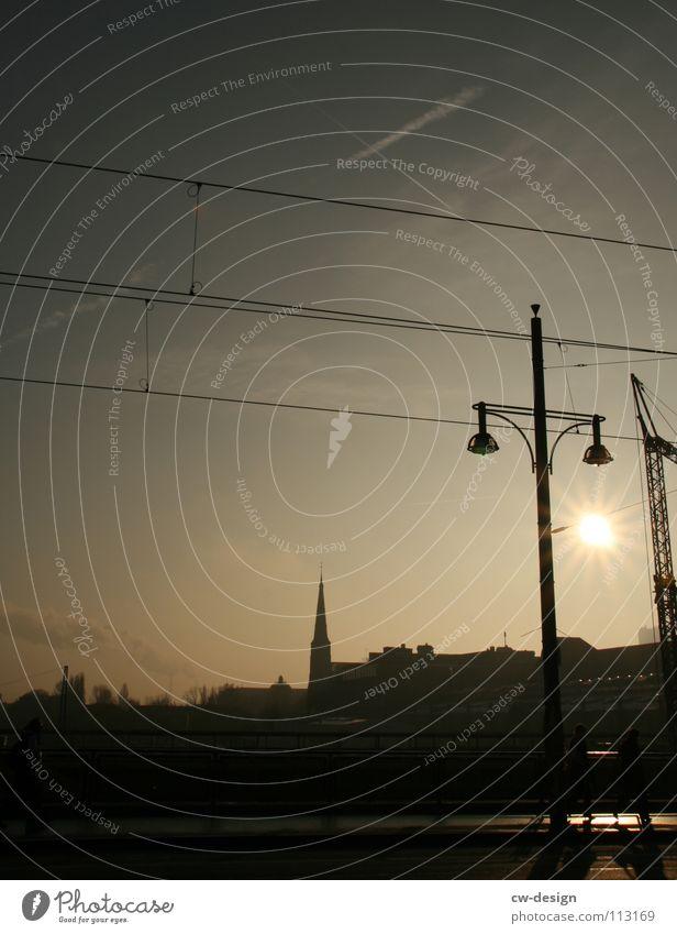one way ticket I Crane Warschauer Bridge Black Dark Progress Lantern Clouds Sightseeing Television Art Interesting Landmark Symbols and metaphors Warped