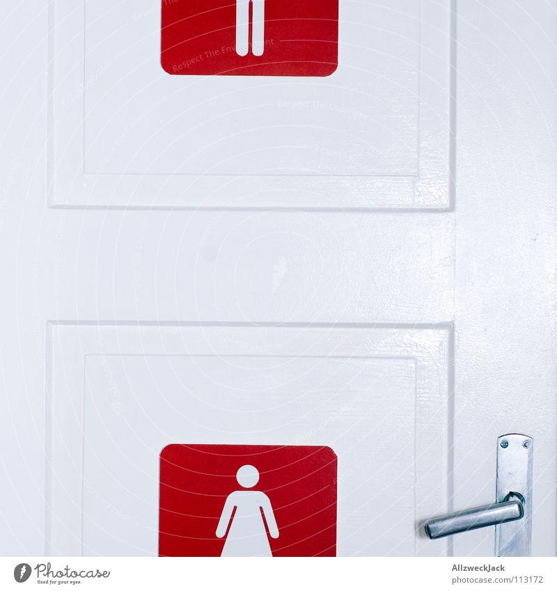 Woman White Red Feminine Door Signage Bathroom Symbols and metaphors Sign Toilet Services Door handle Mix Urinate Urine Toilet