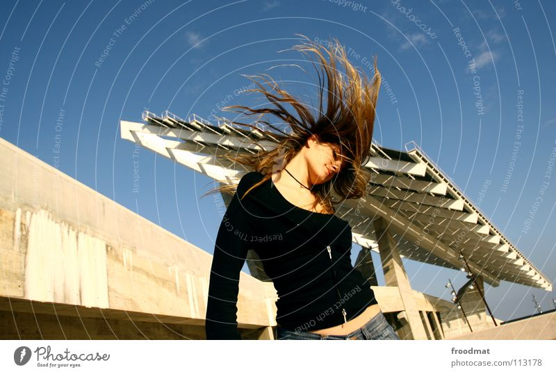 brine hair roof Action Dearest Beautiful Concrete Roof Party Diagonal Forum Blonde Swing Hair and hairstyles Splendid Sweet Woman Summer Flying Movement