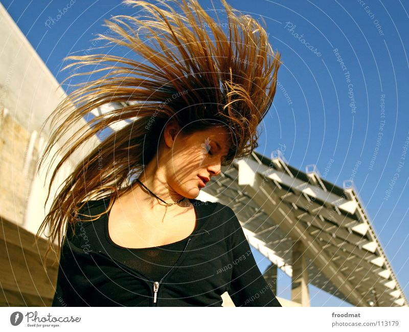Sky Blue Beautiful Vacation & Travel Summer Joy Movement Hair and hairstyles Party Fashion Line Dance Blonde Flying Wild animal Concrete