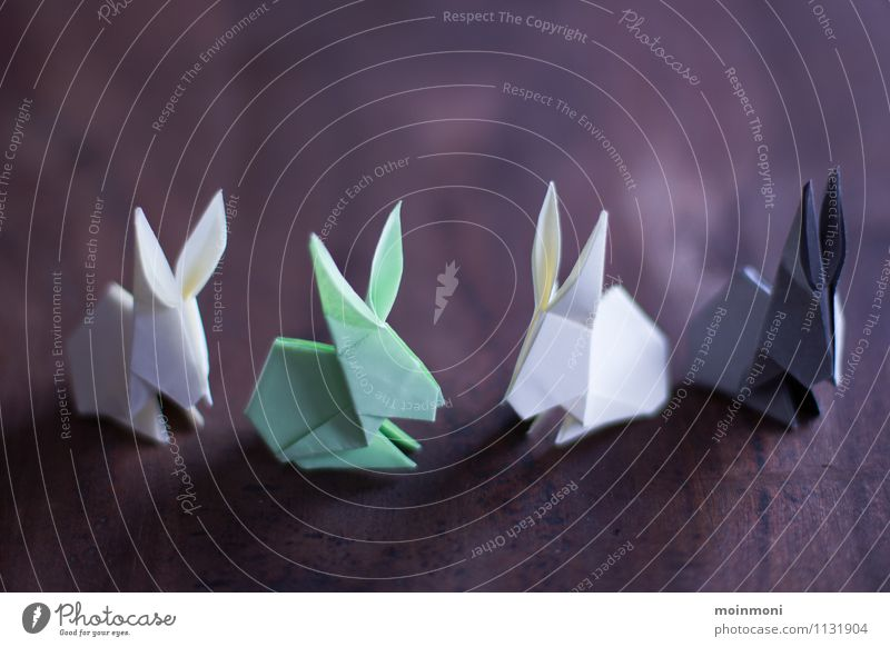 Origami Rabbits Design Joy Leisure and hobbies Playing Handicraft Handcrafts Easter Paper Piece of paper Toys Decoration Kitsch Odds and ends Wood Brown Gray