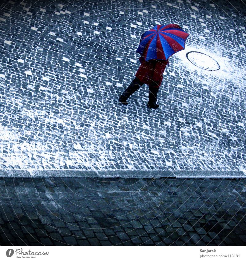 Woman Blue White City Red Winter Street Cold Snow Warmth Autumn Gray Ice Going Places Umbrella