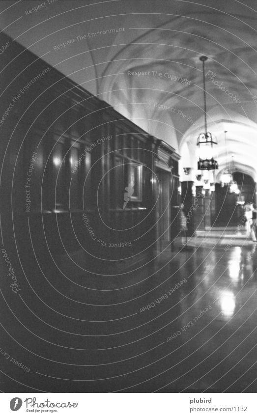 gangway Black White Window Mood lighting Historic Corridor
