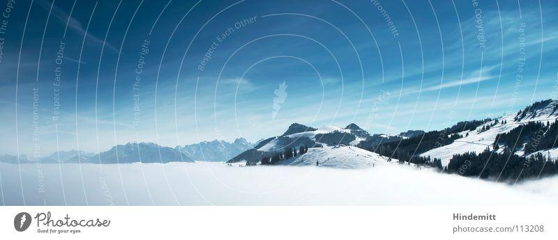 Sky White Tree Winter Clouds Snow Mountain Fog Alps Vantage point Fantastic Peak Bavaria Panorama (Format) Elevator Ski lift