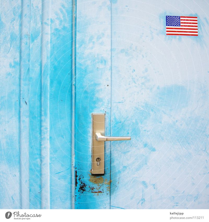 Flag American Flag Door handle Section of image Partially visible Migration Sky blue Light blue Front door