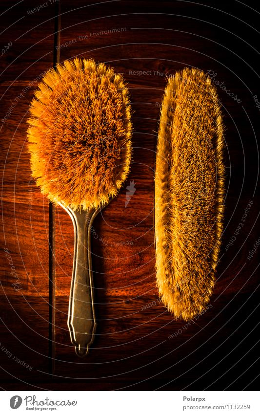 Brushes on solid wood Nature Old Colour Tree Dark Natural Style Brown Fashion Hair Design Decoration Table Retro Beauty Photography Material