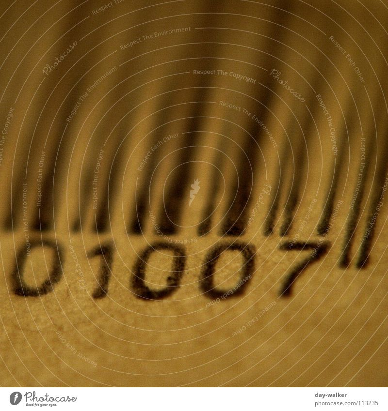 Anno 1007 Greaseproof paper Mail Barcode Digits and numbers Near Black Brown Beige Envelope (Mail) Line Close-up Media Package bar code Macro (Extreme close-up)