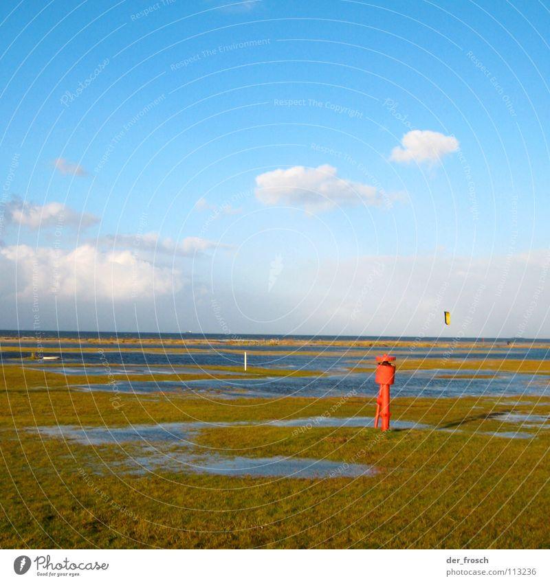 Sky Blue Green Ocean Beach Clouds Autumn Grass Coast Wind Clarity North Sea Surfer November Kiting Surfing
