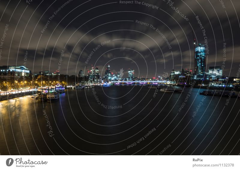 London Vacation & Travel Tourism Sightseeing City trip Night life Advancement Future Energy industry Architecture Landscape Water Sky Clouds Night sky