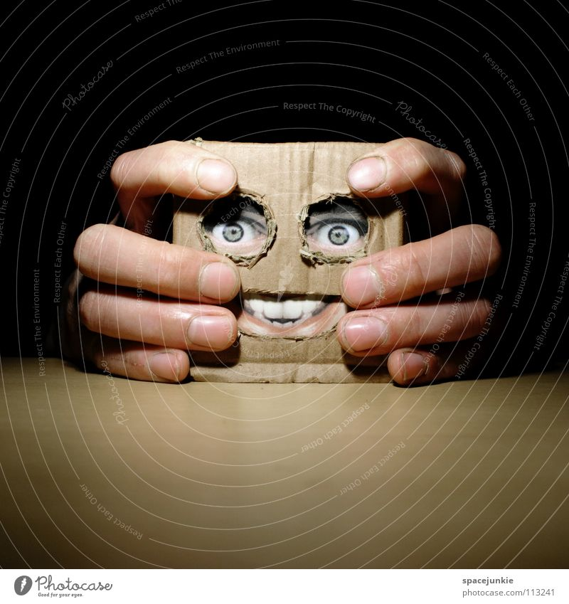 Living in a box (3) Man Cardboard Whimsical Humor Freak Square Glove puppet Toys Hand Table Joy Face Mask Hiding place Hide square skull Doll Table edge