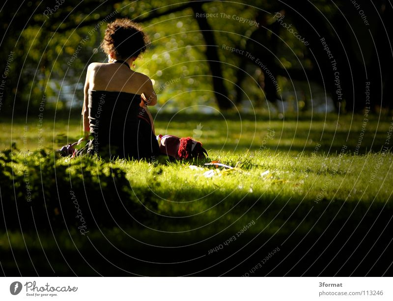 Woman Human being Green Beautiful Tree Plant Sun Summer Calm Loneliness Relaxation Meadow Garden Warmth Think Dream