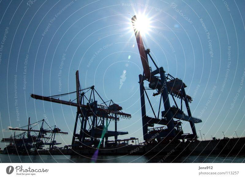 Water Sky Sun Blue Black Lighting Hamburg Harbour Services Crane Dazzle Elbe Lens flare Dockside crane