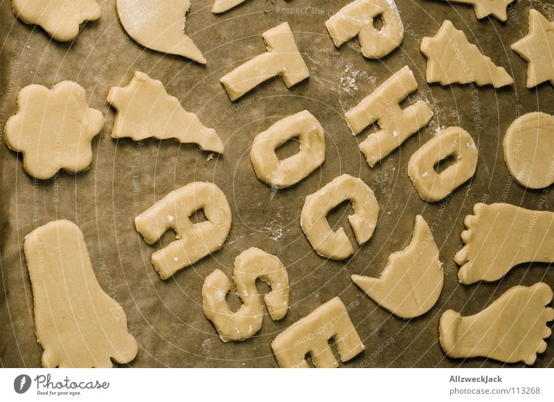 Christmas & Advent Cooking & Baking Letters (alphabet) Delicious Cake Baked goods Household Raw Cookie Tin Christmas biscuit Pierce Baking tray cookie dough
