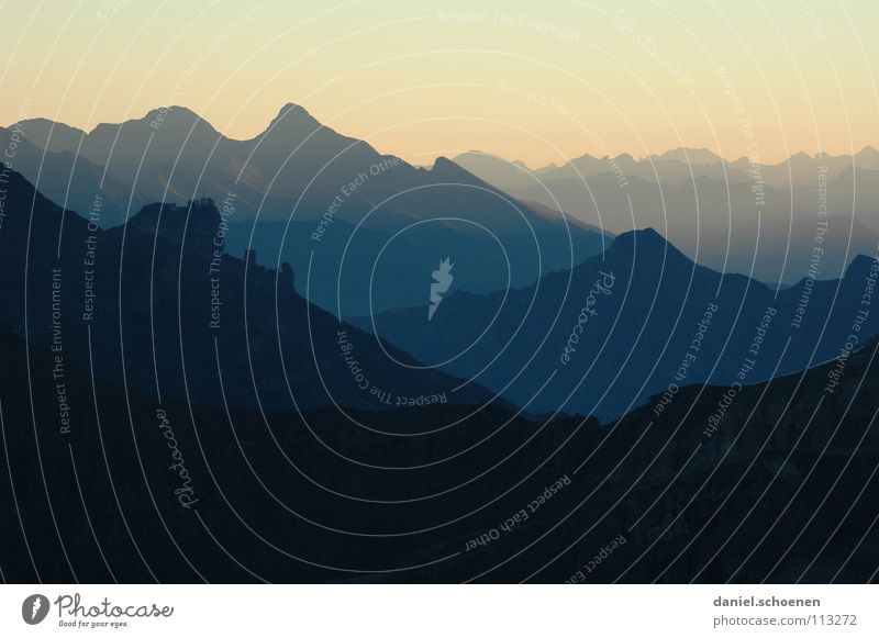 Sunrise (4 o'clock !!) Light Horizon Sunset Switzerland Bernese Oberland Hiking Mountaineering Leisure and hobbies Endurance White Clouds High mountain region