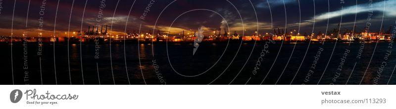 Elbe panorama Container terminal Evening Sunset Clouds Crane Panorama (View) Dark Light Moody Harbour Hamburg Water Orange Control desk dockland