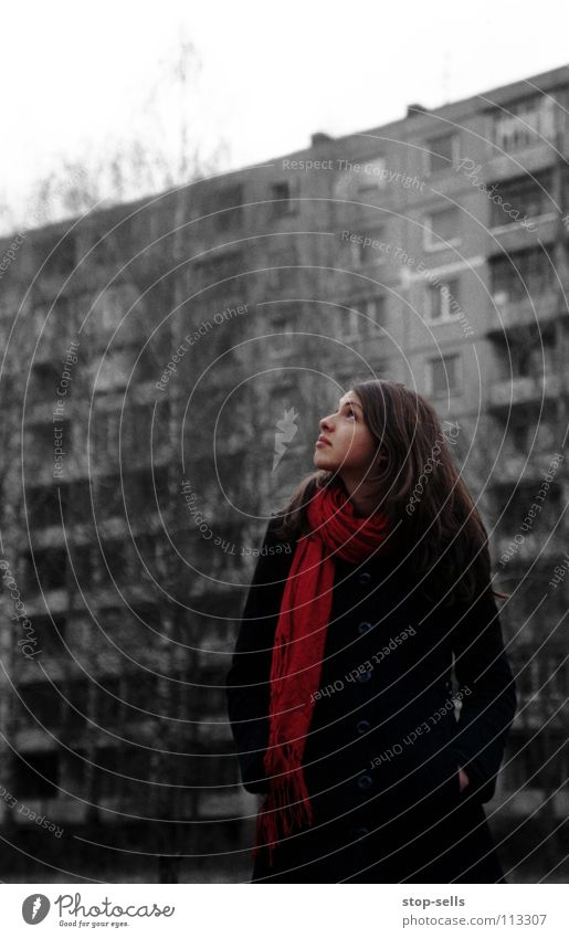 Woman Red Loneliness Cold Gray Fear Hope Gloomy Posture Desire Longing Coat Expectation Rag Scarf Prefab construction