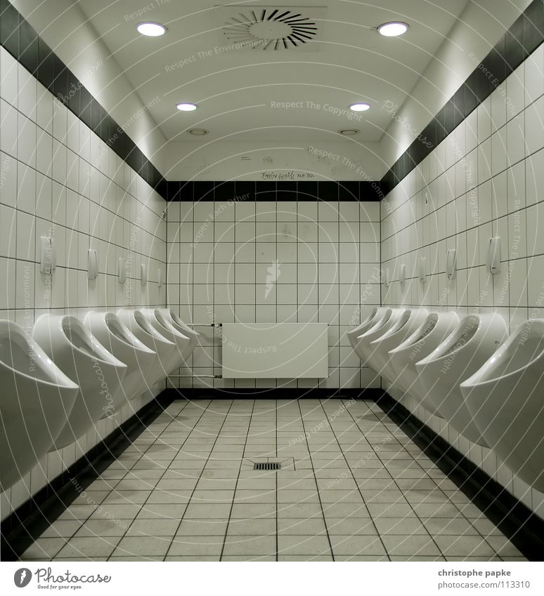 Bright Masculine Gloomy Bathroom Clean Tile Toilet Row Trashy Symmetry Heater Geometry Competition Must Pressure