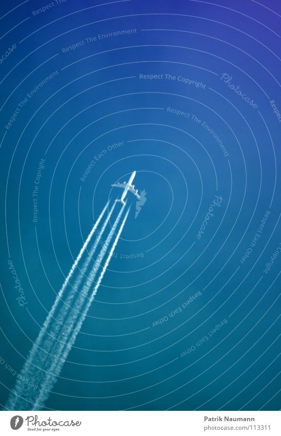 Sky White Blue Above Airplane Flying Tall Aviation Technology 4 Stripe Upward Covers (Construction) Technical