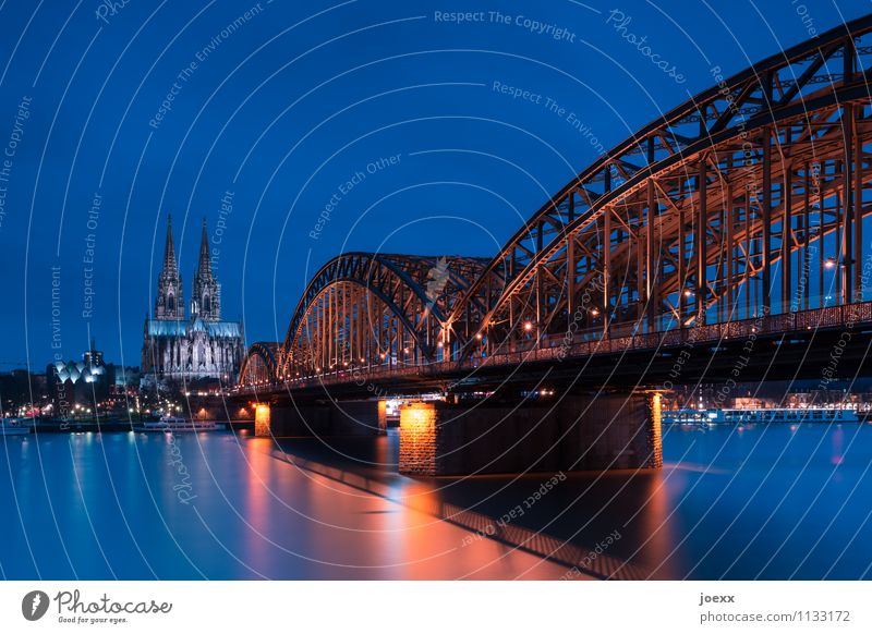 688,5 Cologne Town Dome Bridge Manmade structures Building Architecture Tourist Attraction Cologne Cathedral Old Blue Brown Hohenzollern Bridge Colour photo