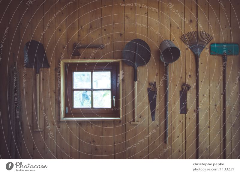 farming tools Living or residing Room Attic Tool Saw Axe Shovel Old Historic Barn Agriculture Agricultural machine Work and employment Colour photo