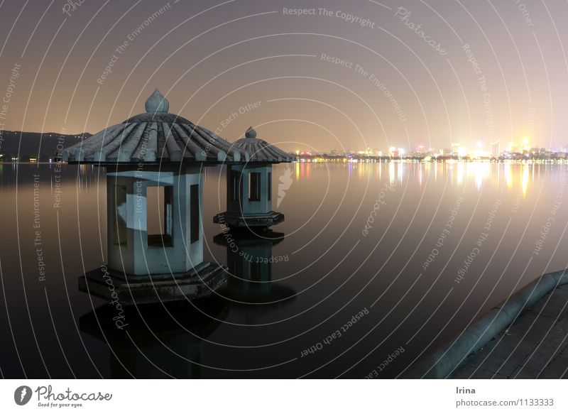 Hangzhou II Exotic Vacation & Travel Sightseeing City trip Night life Lakeside China Outskirts Tourist Attraction Tourism Tradition Skyline Cinese architecture
