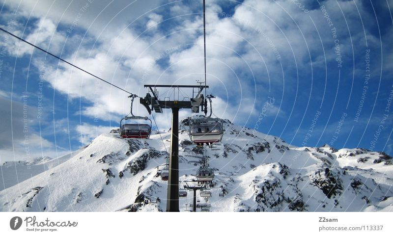 Sky White Clouds Winter Snow Mountain Above Tall Alps Peak Upward Austria Snowscape November Winter sports Ski lift