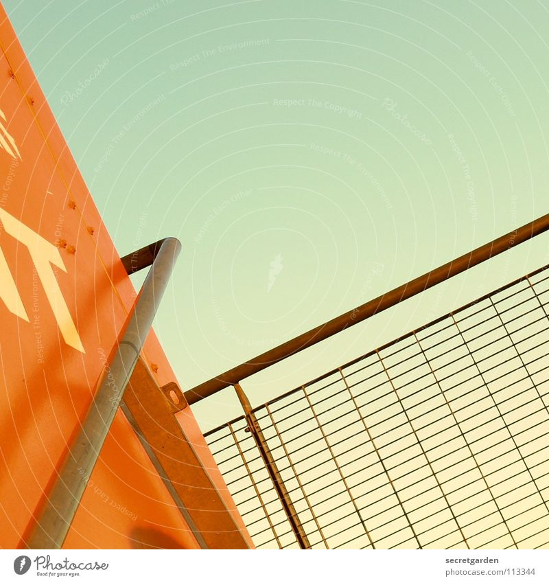 Sky Vacation & Travel Orange Fear Room Lighting Tall Stairs Modern Industrial Photography To hold on Harbour Steel Handrail Vantage point