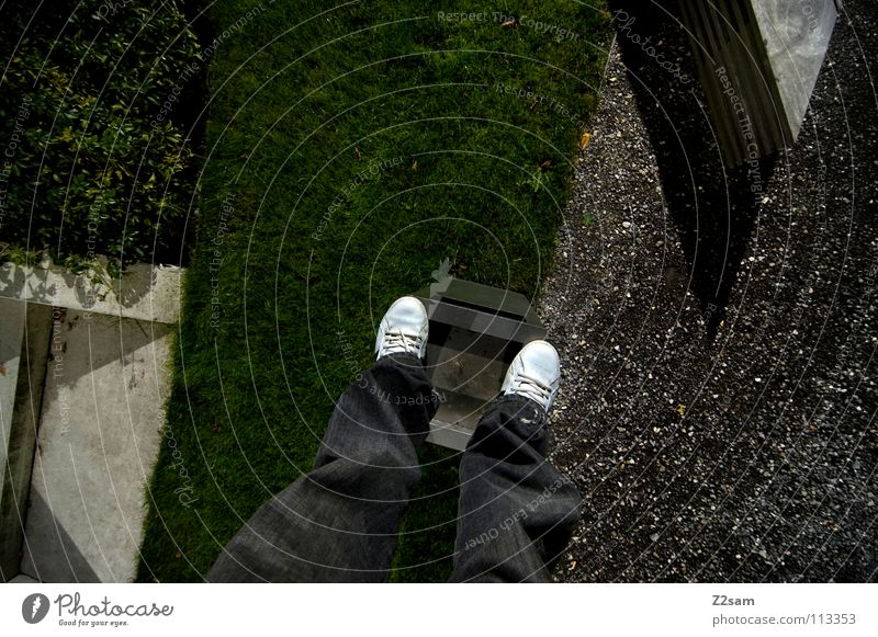 Human being Man White Green Meadow Style Stone Park Line Footwear Concrete Tall Stairs Stand Corner Bushes