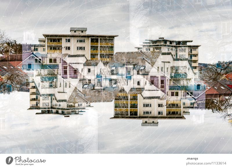 MFH Living or residing House (Residential Structure) Sky Clouds Exceptional Crazy Life Perspective Symmetry Real estate market Double exposure Colour photo