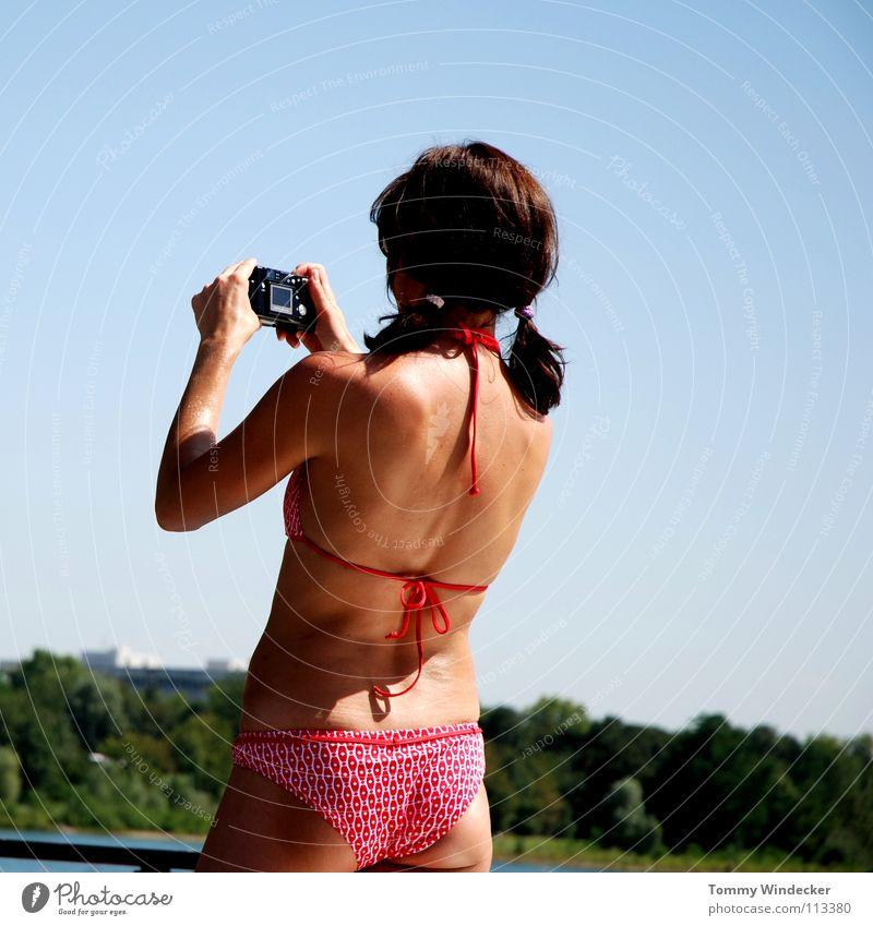 Human being Woman Sky Nature Blue Water Hand Beautiful Red Vacation & Travel Summer Ocean Joy Beach Black Feminine